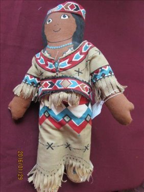 "American Indian Squaw With Papoose On Back 14"" Tall"