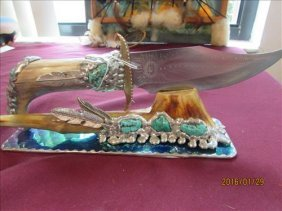 Travis Palmer Knife And Stand - Sterling Silver &