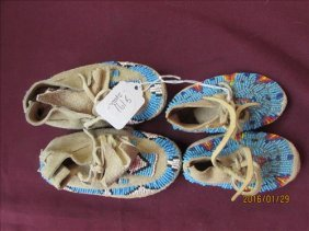 2 Pair Of American Indian Beaded Baby Moccasins