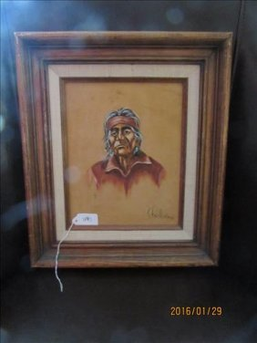 Framed Painting On Suede Of Indian Man By S. Faulkner