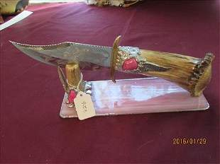 Travis Palmer Stag Handle Knife With Rose Etching Sides