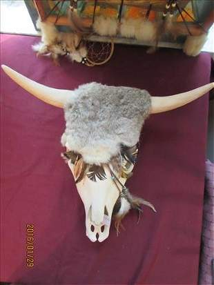 American Indian Ceramic Steer Head with Fur, Leather,