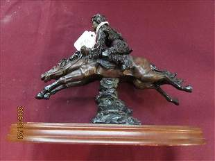 Hand Carved Wood Indian on Horseback Riding into Battle