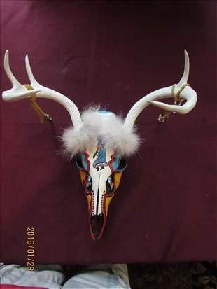 Deer Skull with Antlers - Tribal Painting, Fur, Leather
