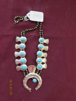 """Necklace - Turquoise Look on Silver Tone - 24"""""""