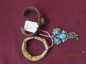 Ravaino Broach, Copper Tone Bracelet & Bone Look