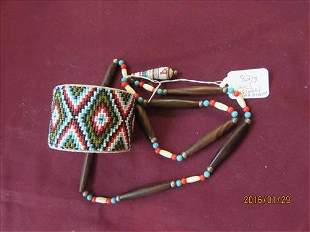 Indian Design Bead Necklace and Fully Beaded Cuff