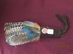 Prayer Fan With Colorful Feathers Leather Bound