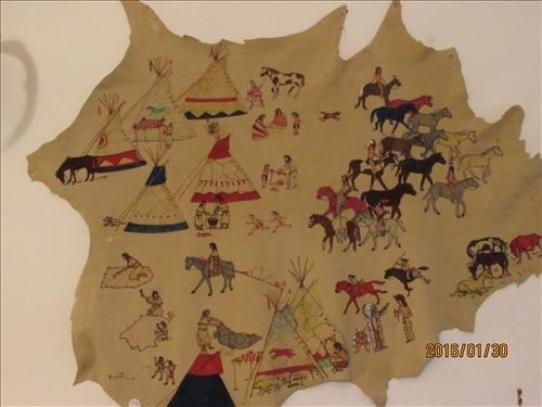 "Deer Skin with Painted Lakota Village Scene 45"" x 46"""