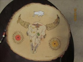 Buffalo Skull By W Leary & Indian Painting By B Hampton