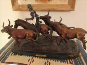 "Bronze Statue On Marble ""stampede"" By Frederic"