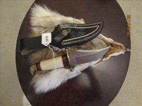 2 Pc - Damascus Steel Knife - Sheath And Wolf Face Skin