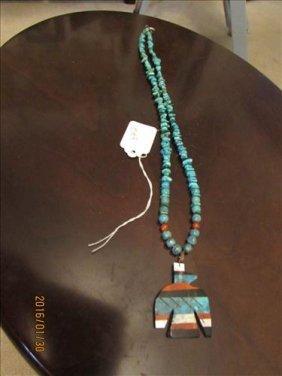 "Turquoise? Necklace With Phoenix Pendant 24"""