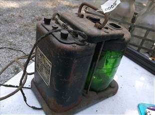 "VINTAGE BALKITE CHARGER W/GREEN GLASS 8 1/2""H"