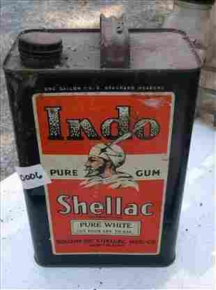 RARE SOUTHERN SHELLAC MFG. INDO PURE GUM SHELLAC CAN