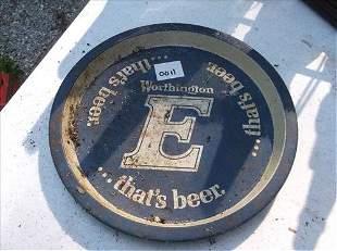 "ROUND WORTHINGTON E BEER TRAY 10 1/2""DIAM"