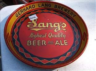 """ROUND GERALD LANG BREWERY-LANG'S BEER/ALE TRAY 12"""""""