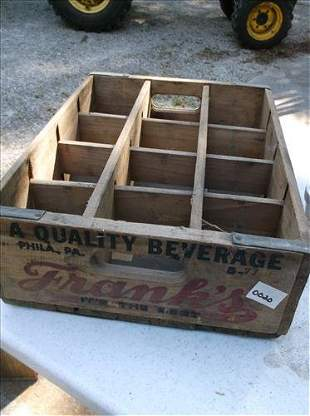 FRANK'S QUALITY BEVERAGE DIVIDED OLD WOOD CRATE