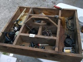 Rustic Wood Crate W/fishing Reel Parts & Some Lures