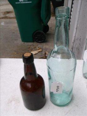 2 Vintage Glass Bottles-liebic Malt Brown & Aqua Bottle