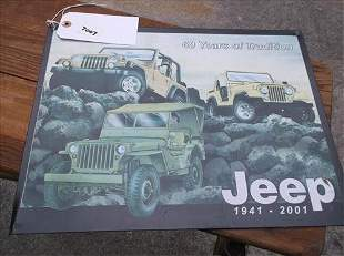 """JEEP SIGN 1941-2001 60 YEARS OF TRADITION 12 1/2"""" X 16"""""""