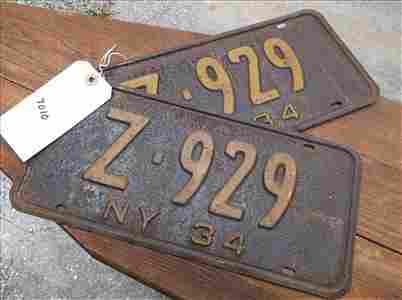 2 LICENSE PLATES-NEW YORK 1934