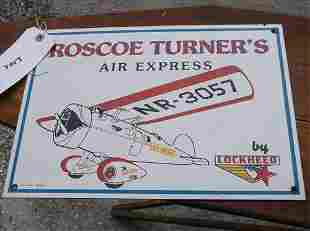 ENAMELED METAL SIGN-ROSCOE TURNER'S AIR EXPRESS