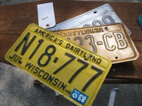 3 License Plates-1983 Pa, Wisconsin & Illinois