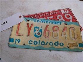 2 License Plates-colorado 1976 & Michigan 1978