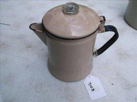 Vintage Beige Enameled Hinged Lid Coffee Pot