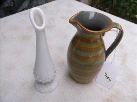 Italian Pottery Pitcher & White Hobnail Bud Vase