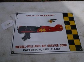 Enameled Metal Sign-wedell-williams Air Service Group