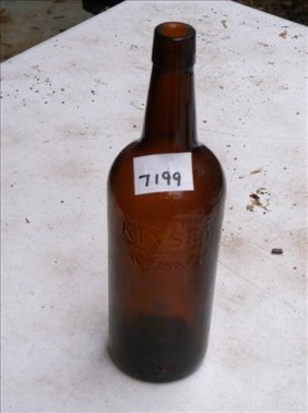 "Vintage Brown Glass Bottle-kinsey Whiskey 11""h"