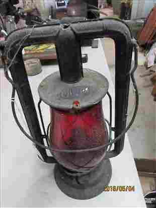 """Dietz Red Glass Lantern Monarch 13 1/2"""""""