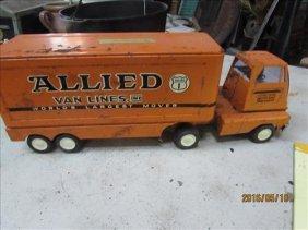Metal Allied Van Lines Truck Cab/trailer 15x5 3/4