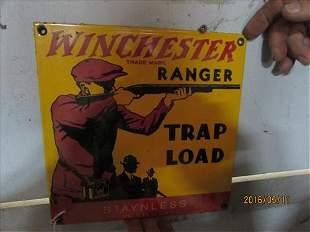 Winchester Gun Sign Made USA Porcelain 9x9