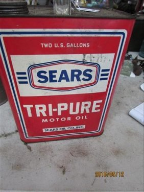 Vintage Sear Oil Tri Pure Motor Oil 2 Gallons Full