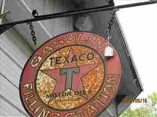 Texaco Filling Station Sign 25 1/2 Dia Hanging On Barn