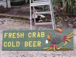 57 1/2 X 16 1/2 Crab and Beer Sign Nice Colors