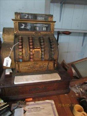 National Cash Register Wood Base Marble Bottom Brass