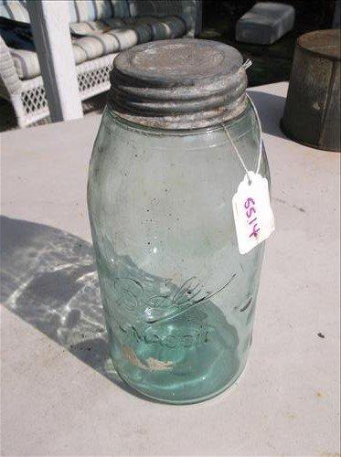 "VINTAGE AQUA GLASS BALL MASON JAR W/METAL LID  9 1/2""H"