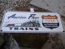 ENAMALED METAL SIGNAMERICAN FLYER TRAINS