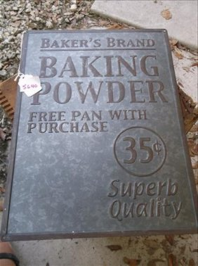 "Baker's Brand Baking Powder Metal Sign 10 3/4"" X 14"