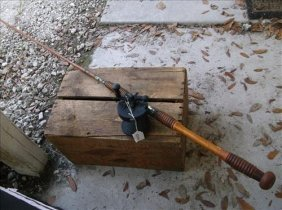 Montague Bamboo Fishing Rod & Unmarked Fishing Reel