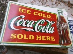 1989 Ice Cold Coca Cola Sold Here Metal Sign