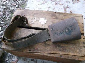 """Rusty Old 6"""" Cowbell On Worn Buckled Strap"""