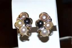 14kyg Pearl & Diamond Earrings