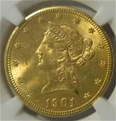 1901 10 Liberty Head Gold Eagle NGC MS 62