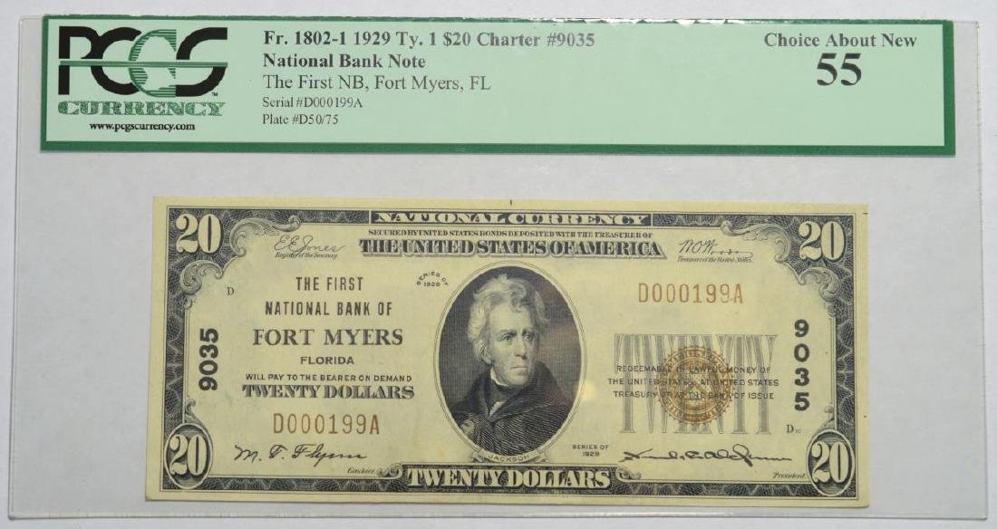 1929 T1 $20 FNB Fort Myers FL Banknote PCGS CAN55