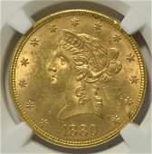 1880 10 Liberty Head Gold Eagle NGC MS 62